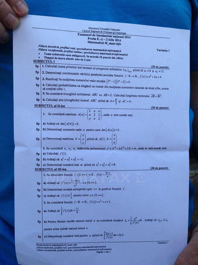 BACALAUREAT 2014 Vezi SUBIECTELE probei scrise la matematica si istorie! FOTO1