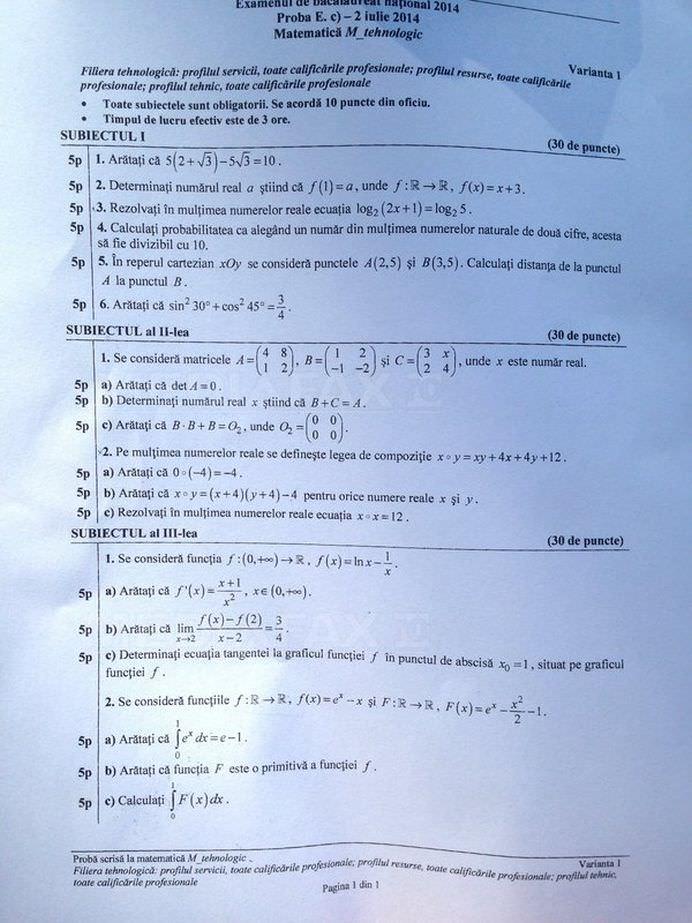 BACALAUREAT 2014 Vezi SUBIECTELE probei scrise la matematica si istorie! FOTO2