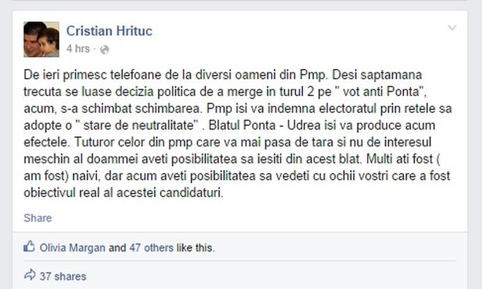BOMBA POLITICA DETONATA TRAIAN BASESCU a batut palma cu VICTOR PONTA in TURUL II!111