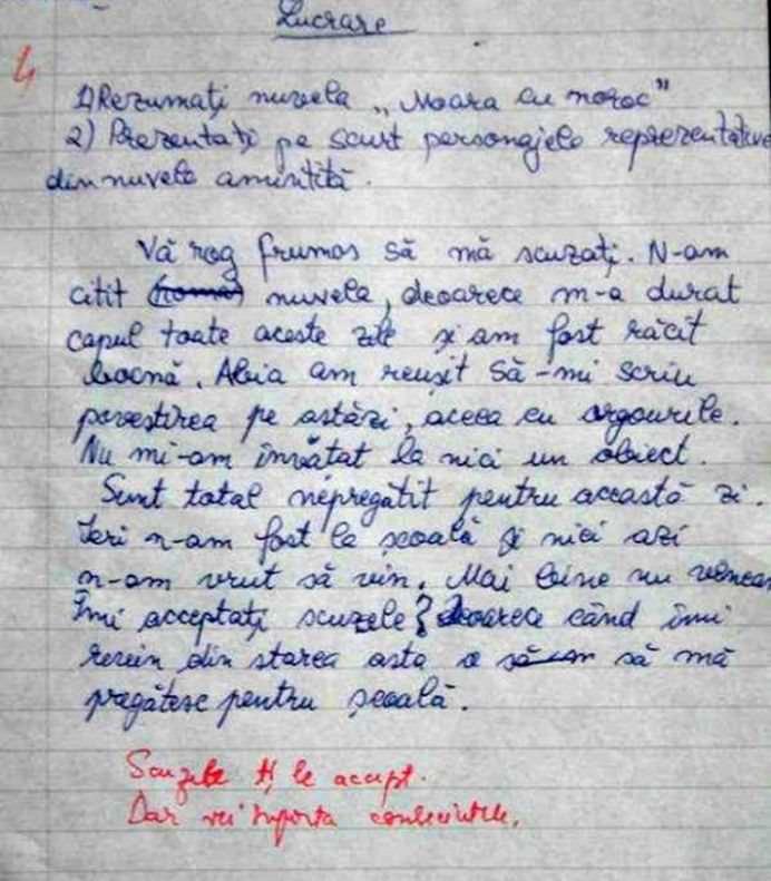 Ce a raspuns un elev la lucrarea de control la limba romana! Nimeni nu se astepta la asta!1