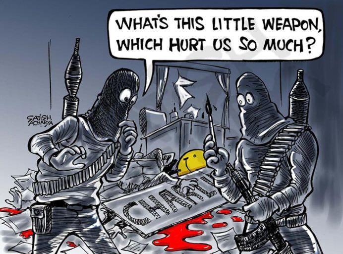 Creionul este mai puternic decat sabia! 28 de CARICATURISTI aduc un OMAGIU victimelor atacului de la Charlie Hebdo!28